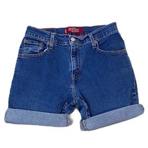Levis 550 Blue Jeans Cut Off Shorts L Waist 28